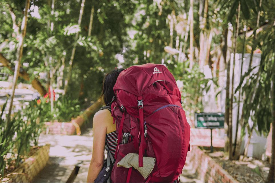 backpacker leaving on a journey